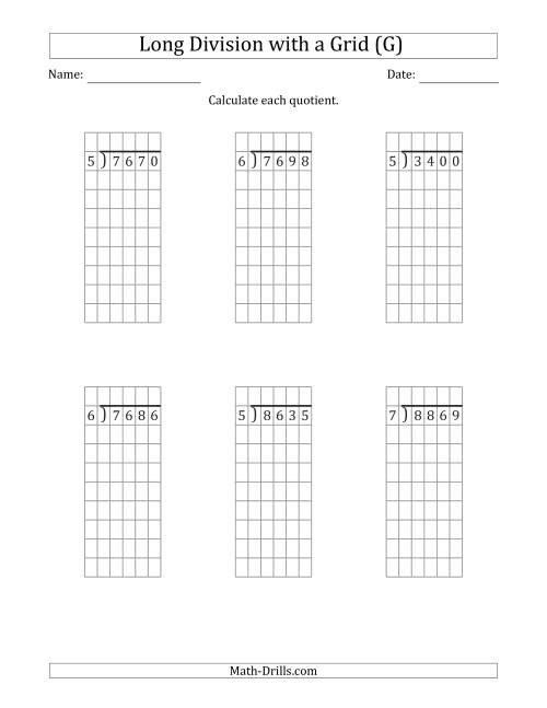 The 4-Digit by 1-Digit Long Division with Grid Assistance and NO Remainders (G) Math Worksheet