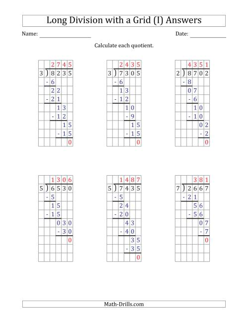 The 4-Digit by 1-Digit Long Division with Grid Assistance and NO Remainders (I) Math Worksheet Page 2