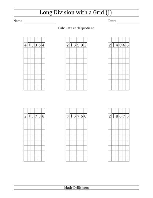 The 4-Digit by 1-Digit Long Division with Grid Assistance and NO Remainders (J) Math Worksheet