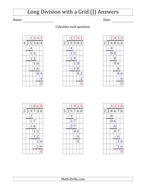 The 4-Digit by 1-Digit Long Division with Grid Assistance and NO Remainders (J) Math Worksheet Page 2