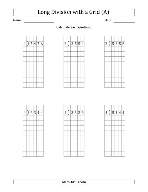 The 4-Digit by 1-Digit Long Division with Grid Assistance and NO Remainders (All) Math Worksheet