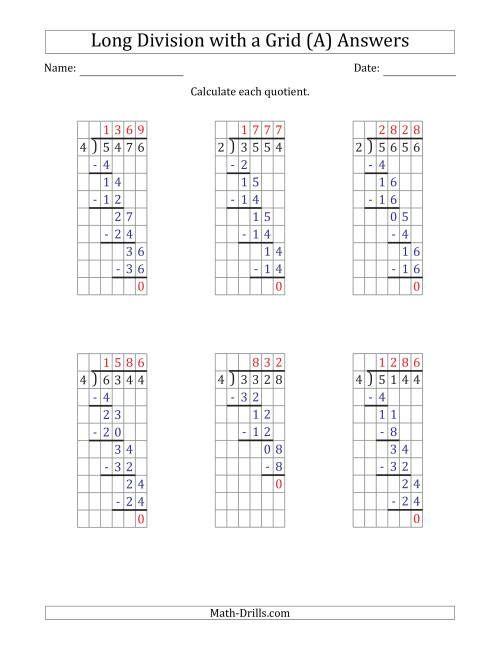 The 4-Digit by 1-Digit Long Division with Grid Assistance and NO Remainders (All) Math Worksheet Page 2