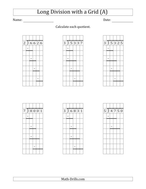 The 4-Digit by 1-Digit Long Division with Grid Assistance and Prompts and NO Remainders (A) Math Worksheet