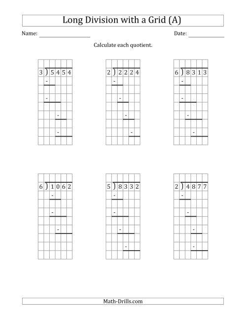 The 4-Digit by 1-Digit Long Division with Remainders with Grid Assistance and Prompts (A) Math Worksheet