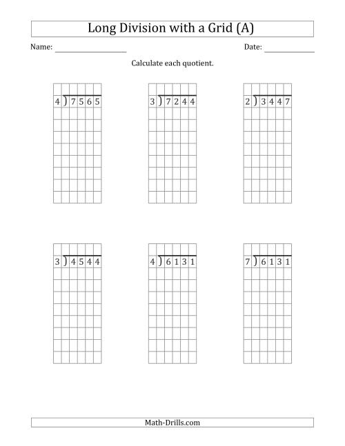 The 4-Digit by 1-Digit Long Division with Remainders with Grid Assistance (A) Math Worksheet
