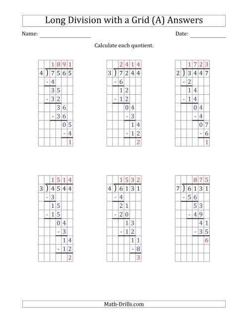 The 4-Digit by 1-Digit Long Division with Remainders with Grid Assistance (A) Math Worksheet Page 2