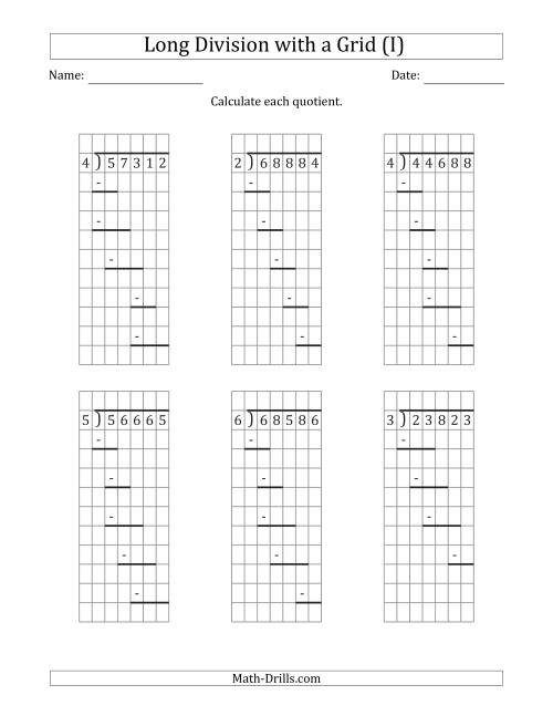 5-Digit by 1-Digit Long Division with Grid Assistance and ...