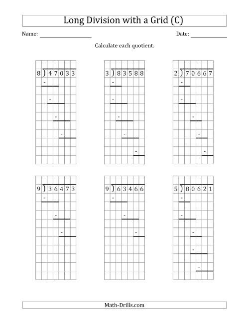 5-Digit by 1-Digit Long Division with Remainders with Grid ...