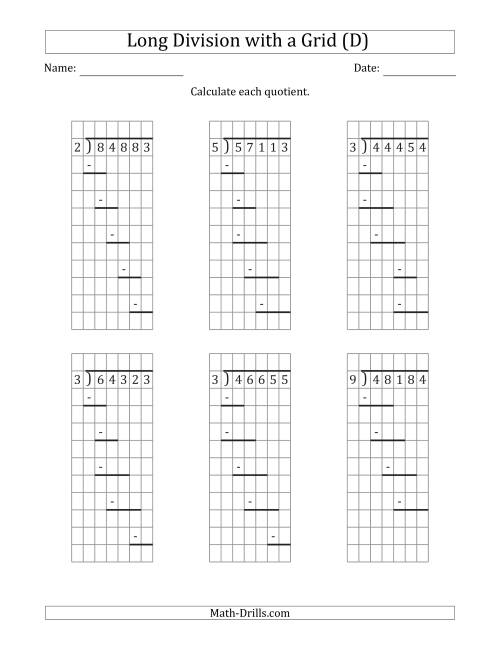 The 5-Digit by 1-Digit Long Division with Remainders with Grid Assistance and Prompts (D) Math Worksheet