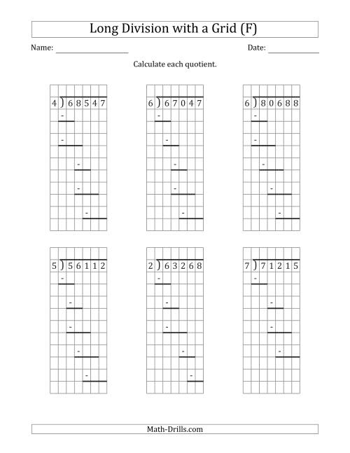 The 5-Digit by 1-Digit Long Division with Remainders with Grid Assistance and Prompts (F) Math Worksheet