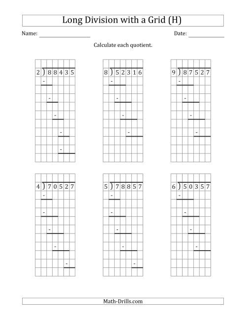 The 5-Digit by 1-Digit Long Division with Remainders with Grid Assistance and Prompts (H) Math Worksheet