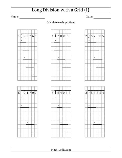 The 5-Digit by 1-Digit Long Division with Remainders with Grid Assistance and Prompts (I) Math Worksheet