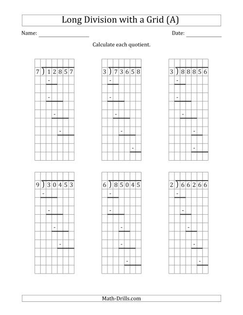 The 5-Digit by 1-Digit Long Division with Remainders with Grid Assistance and Prompts (All) Math Worksheet