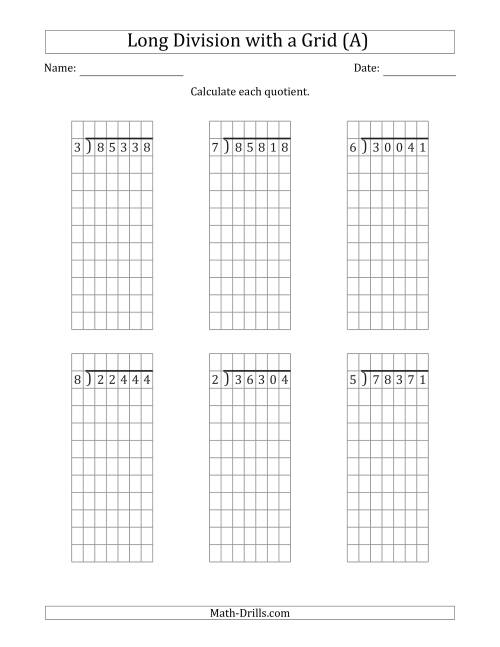 The 5-Digit by 1-Digit Long Division with Remainders with Grid Assistance (A) Math Worksheet