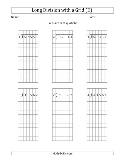 The 5-Digit by 1-Digit Long Division with Remainders with Grid Assistance (D) Math Worksheet