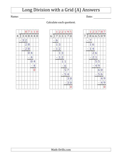 The 6-Digit by 1-Digit Long Division with Grid Assistance and NO Remainders (A) Math Worksheet Page 2