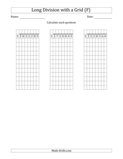The 6-Digit by 1-Digit Long Division with Grid Assistance and NO Remainders (F) Math Worksheet