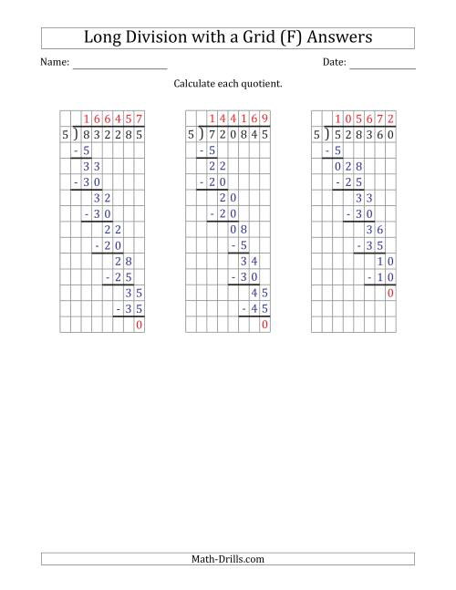 The 6-Digit by 1-Digit Long Division with Grid Assistance and NO Remainders (F) Math Worksheet Page 2