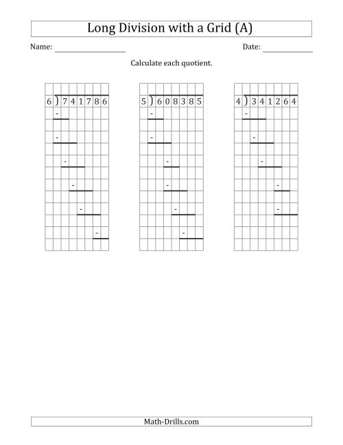 The 6-Digit by 1-Digit Long Division with Grid Assistance and Prompts and NO Remainders (A) Math Worksheet