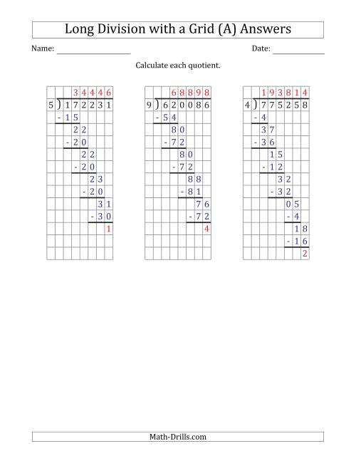 The 6-Digit by 1-Digit Long Division with Remainders with Grid Assistance and Prompts (A) Math Worksheet Page 2
