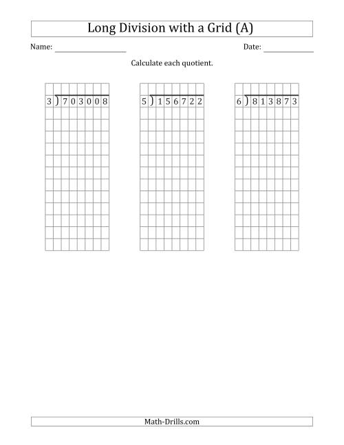 The 6-Digit by 1-Digit Long Division with Remainders with Grid Assistance (A) Math Worksheet