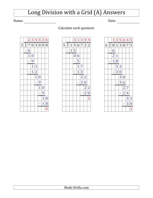 The 6-Digit by 1-Digit Long Division with Remainders with Grid Assistance (A) Math Worksheet Page 2
