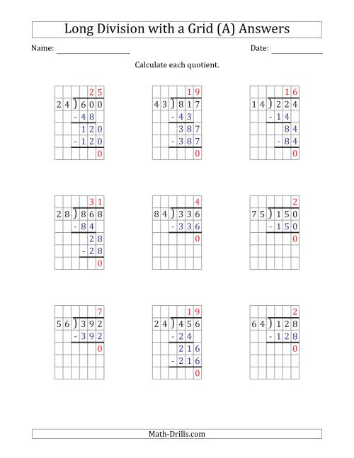 The 3-Digit by 2-Digit Long Division with Grid Assistance and NO Remainders (A) Math Worksheet Page 2