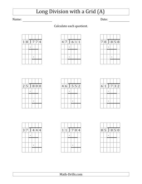 The 3-Digit by 2-Digit Long Division with Grid Assistance and Prompts and NO Remainders (A) Math Worksheet