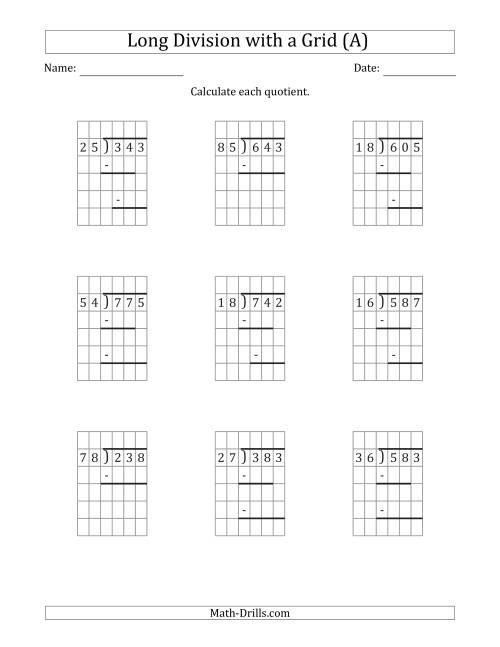 The 3-Digit by 2-Digit Long Division with Remainders with Grid Assistance and Prompts (A) Math Worksheet