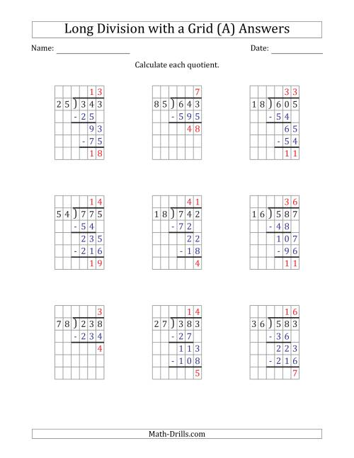 The 3-Digit by 2-Digit Long Division with Remainders with Grid Assistance and Prompts (A) Math Worksheet Page 2