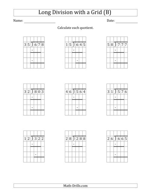 The 3-Digit by 2-Digit Long Division with Remainders with Grid Assistance and Prompts (B) Math Worksheet