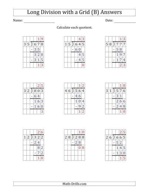 The 3-Digit by 2-Digit Long Division with Remainders with Grid Assistance and Prompts (B) Math Worksheet Page 2