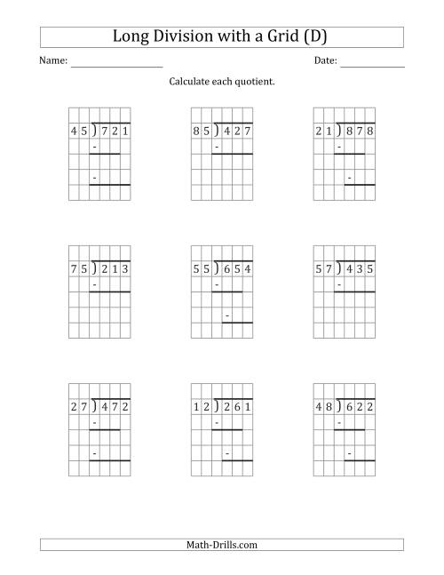 The 3-Digit by 2-Digit Long Division with Remainders with Grid Assistance and Prompts (D) Math Worksheet