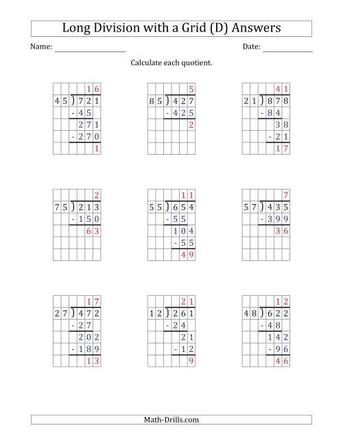The 3-Digit by 2-Digit Long Division with Remainders with Grid Assistance and Prompts (D) Math Worksheet Page 2