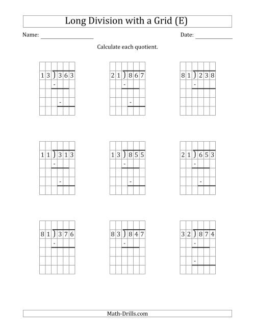 The 3-Digit by 2-Digit Long Division with Remainders with Grid Assistance and Prompts (E) Math Worksheet