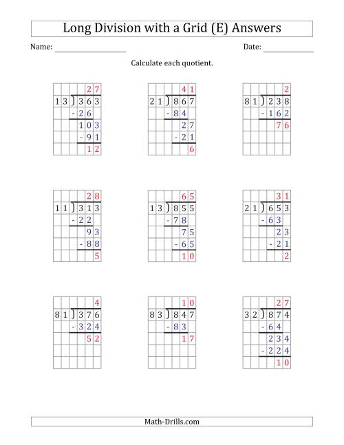 The 3-Digit by 2-Digit Long Division with Remainders with Grid Assistance and Prompts (E) Math Worksheet Page 2