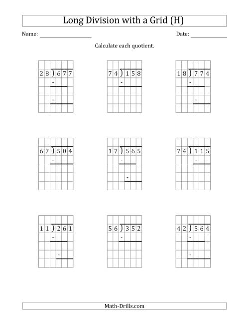 The 3-Digit by 2-Digit Long Division with Remainders with Grid Assistance and Prompts (H) Math Worksheet