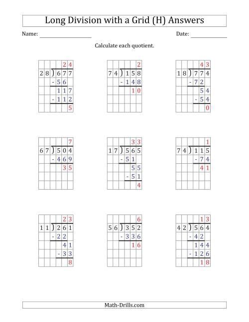 The 3-Digit by 2-Digit Long Division with Remainders with Grid Assistance and Prompts (H) Math Worksheet Page 2