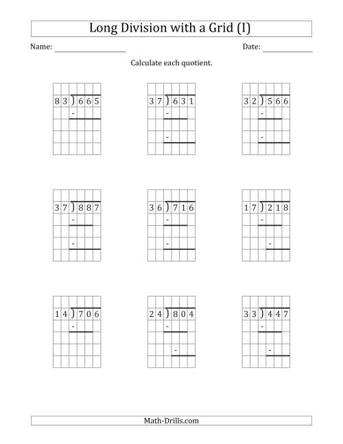 The 3-Digit by 2-Digit Long Division with Remainders with Grid Assistance and Prompts (I) Math Worksheet
