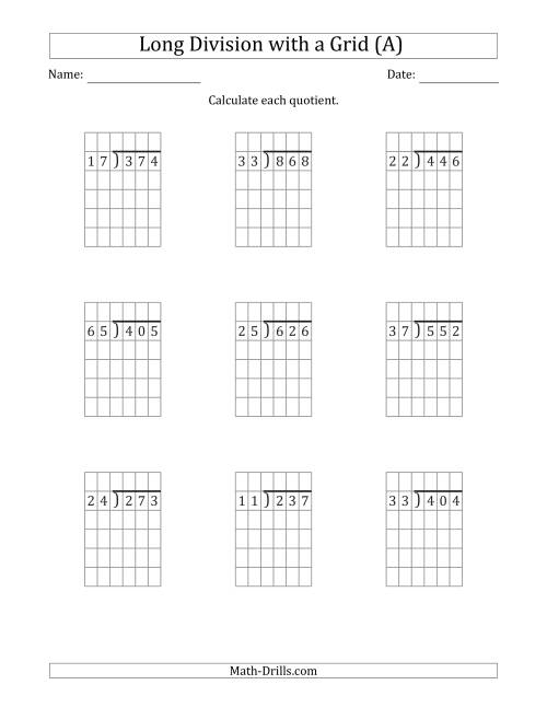 The 3-Digit by 2-Digit Long Division with Remainders with Grid Assistance (A) Math Worksheet