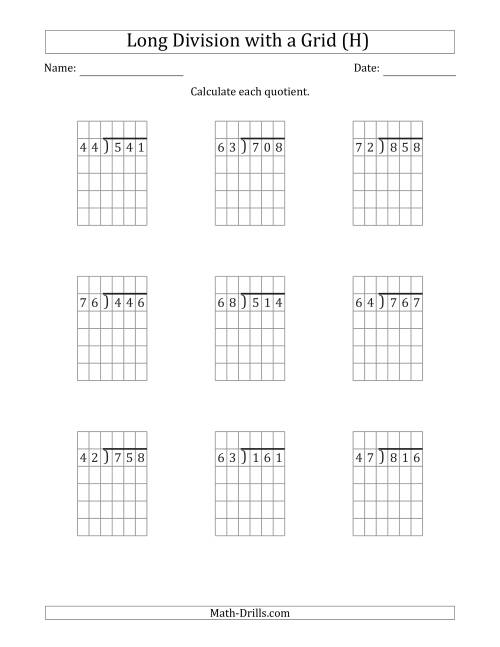 The 3-Digit by 2-Digit Long Division with Remainders with Grid Assistance (H) Math Worksheet
