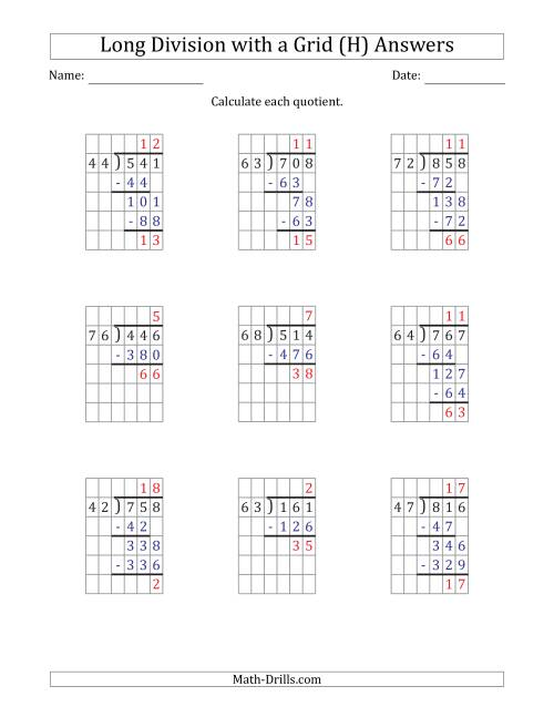 The 3-Digit by 2-Digit Long Division with Remainders with Grid Assistance (H) Math Worksheet Page 2
