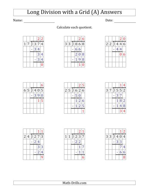 The 3-Digit by 2-Digit Long Division with Remainders with Grid Assistance (All) Math Worksheet Page 2