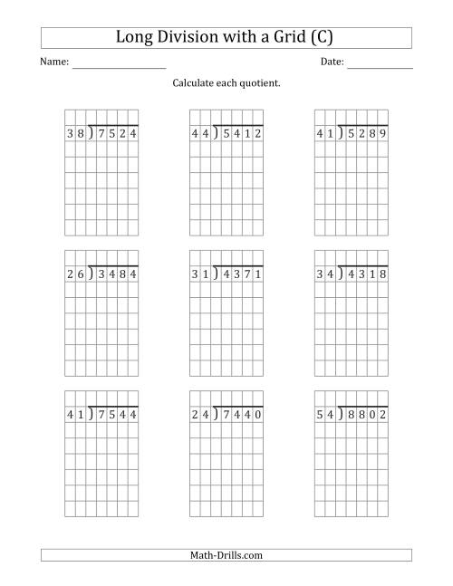 4-Digit by 2-Digit Long Division with Grid Assistance and ...