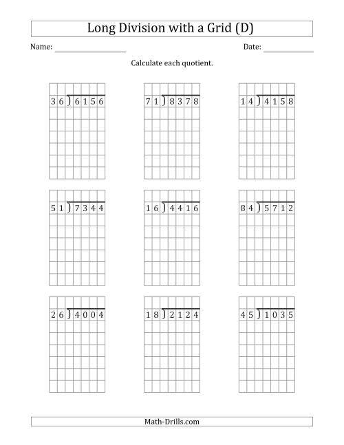 The 4-Digit by 2-Digit Long Division with Grid Assistance and NO Remainders (D) Math Worksheet