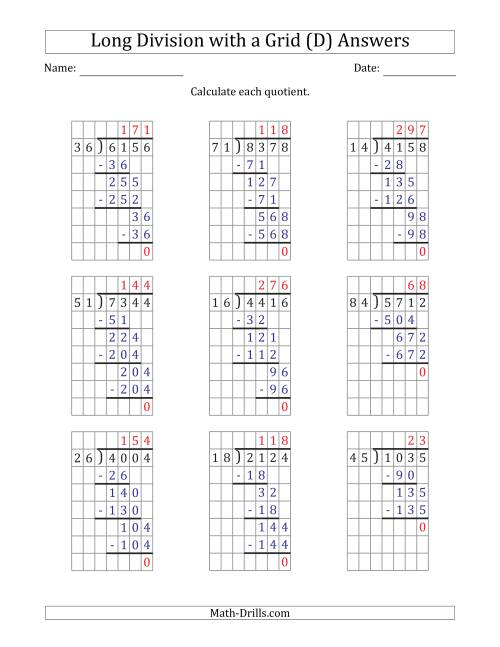 The 4-Digit by 2-Digit Long Division with Grid Assistance and NO Remainders (D) Math Worksheet Page 2