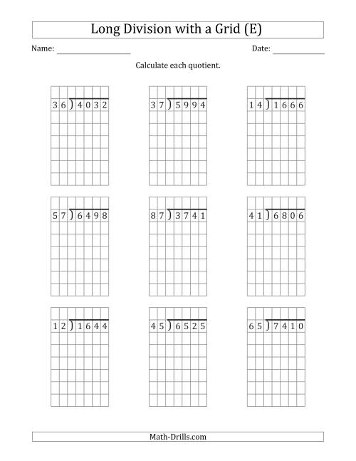 The 4-Digit by 2-Digit Long Division with Grid Assistance and NO Remainders (E) Math Worksheet