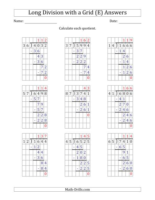 The 4-Digit by 2-Digit Long Division with Grid Assistance and NO Remainders (E) Math Worksheet Page 2