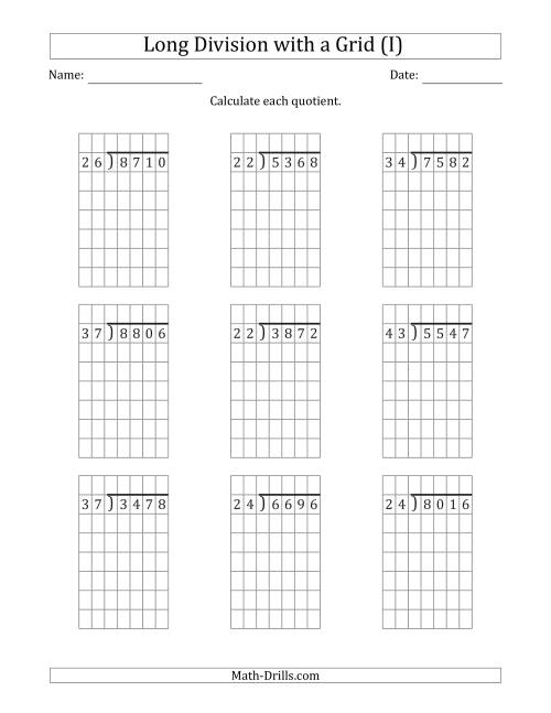 The 4-Digit by 2-Digit Long Division with Grid Assistance and NO Remainders (I) Math Worksheet