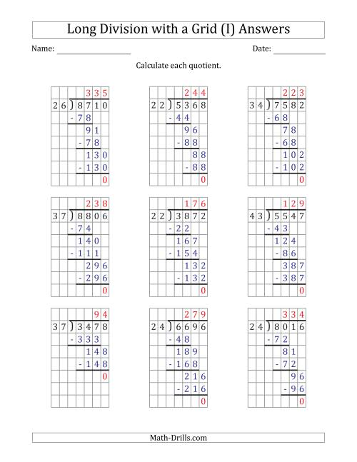 The 4-Digit by 2-Digit Long Division with Grid Assistance and NO Remainders (I) Math Worksheet Page 2